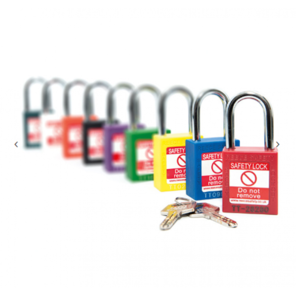 Nylon Body Safety Padlock - 38mm Clearance Steel/Plastic Shackle