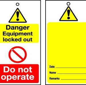RLOT1 Disposable Lockout Tags - Yellow Caution Blank Reverse