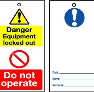 RLOT3 Disposable Lockout Tags - Reverse Blue WARNING Symbol