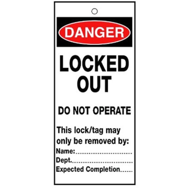 RLTT09B Lockout Safety Tags - 'Danger Locked Out'